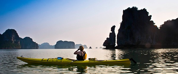 Kayaking to discover Halong Bay
