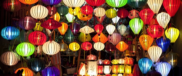 A Hoi An lantern at night