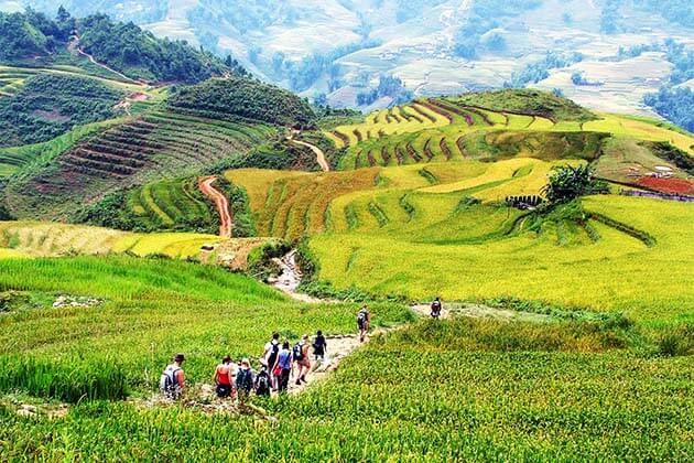 On the way to Cat Cat village, Vietnam Family adventure tour