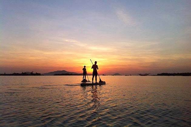 Sunset in Hoian, Cua Dai Beach, Vacation beach in Vietnam